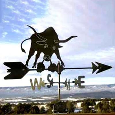 Longhorn Bull Silhouette Steel Weathervane