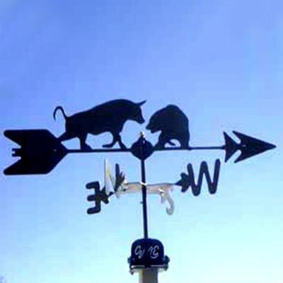 Bull & Bear Silhouette Steel Weathervane
