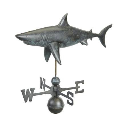 Swimming Shark Grey Patina Copper Weathervane