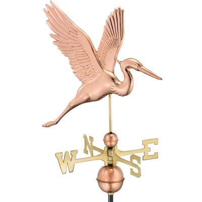 Graceful Blue Heron Copper Weathervane