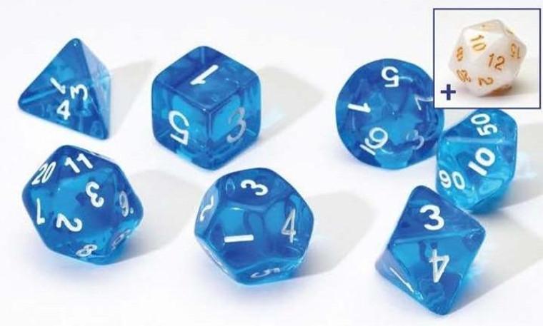 RPG Dice Set (7): Green, Blue Translucent