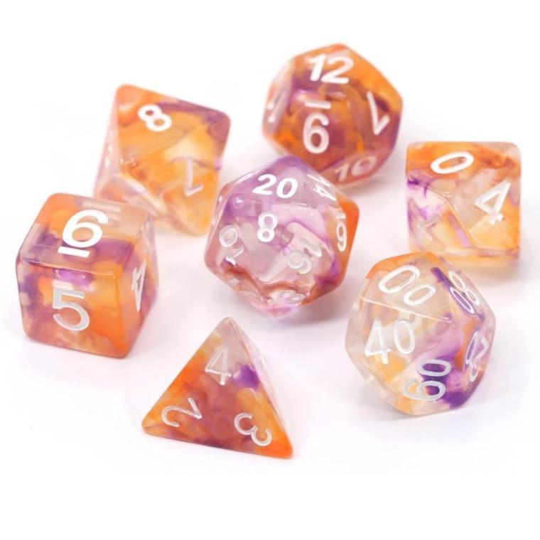 RPG Dice Set (7): Purple, Orange Clear