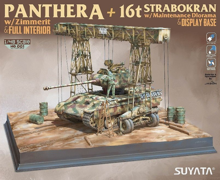 SUYNO01 1/48 Panther A (Full Interior & Zimmerit) + 16t Strabokran with Maintenance Diorama & Display Base