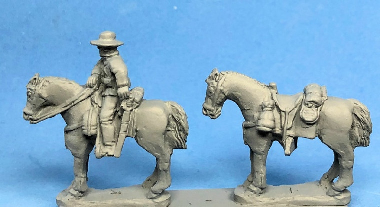 PIG020185 - Confederate Cavalry Horse Holders (2) and Horses (4)