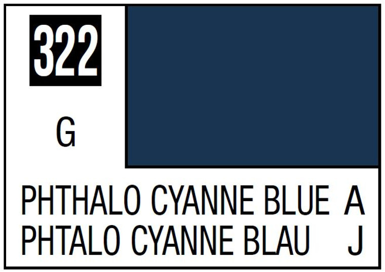 Mr. Color 322 Gloss Phthalo Cyanne Blue 10ml, GSI
