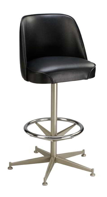 "This 5 Legged Bar Stool Base with Ring features a 360 degree swivel, chrome ring.  5 Legged Base can be used with any of our Replacement Buckets. Finish options: Anodized Nickel , Chrome Powder Coat or Black  26"" or 30"" Height  BUCKET NOT INCLUDED Made in USA"