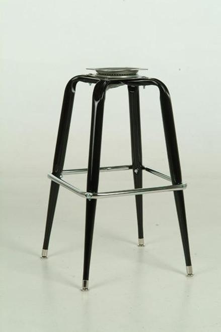 Square Stool Base 1 in black finish with chrome foot rest.