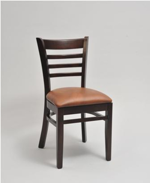 Ladder Back Wood Chair in mahogany wood frame finish and saddle vinyl upholstered seat | Seats and Stools