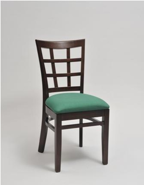 Window Pane Wood Chair in mahogany finish with teal vinyl upholstered seat | Seats and Stools