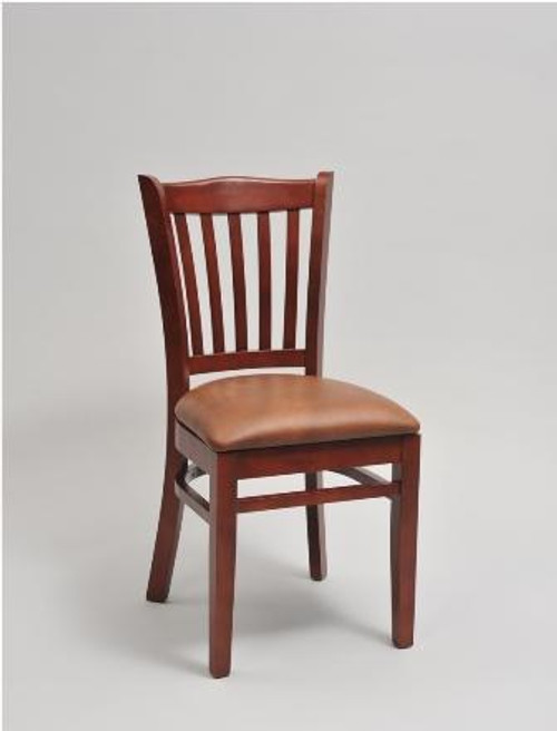 Jailhouse Wood Chair in cherry wood finish, saddle vinyl upholstered seat | Seats and Stools