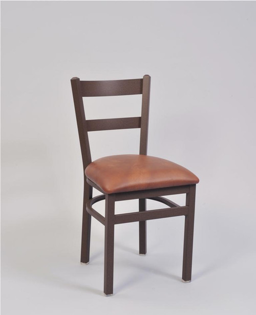 2 Ladder Metal Chair with bronze frame finish and upholstered seat in saddle vinyl | Seats and Stools