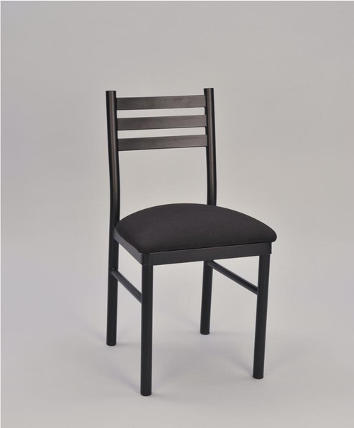 3 Ladder Round Tube Metal Chair with black frame finish and black upholstered seat | Seats and Stools