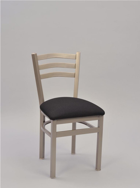 3 Ladder Square Tube Metal Chair with silver frame finish and black upholstered seat | Seats and Stools