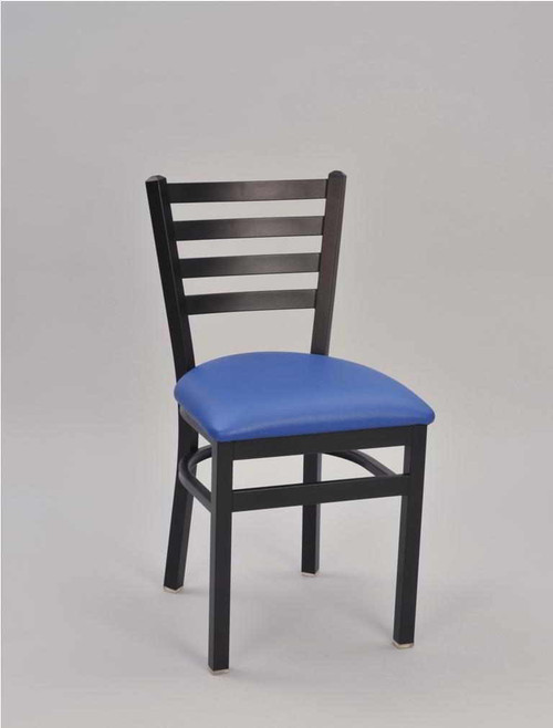 4 Ladder Metal Chair with black frame finish and blue vinyl upholstered seat | Seats and Stools