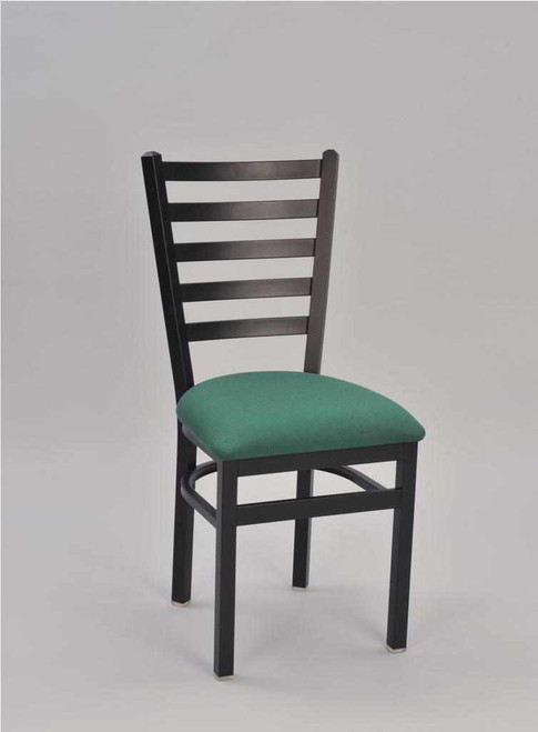 5 Ladder Metal Chair with teal vinyl upholstered seat and black frame finish   Seats and Stools