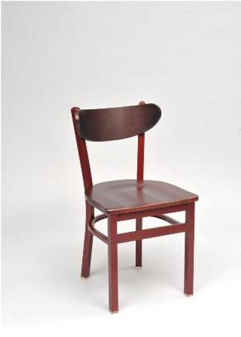 Contoured Metal Chair in chair height, copper frame finish, cherry wood seat.