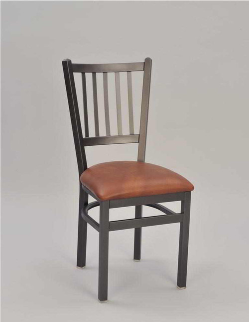 Tall Jailhouse Metal Chair, pictured with sandtex black frame finish and saddle vinyl upholstered seat | Seats and Stools