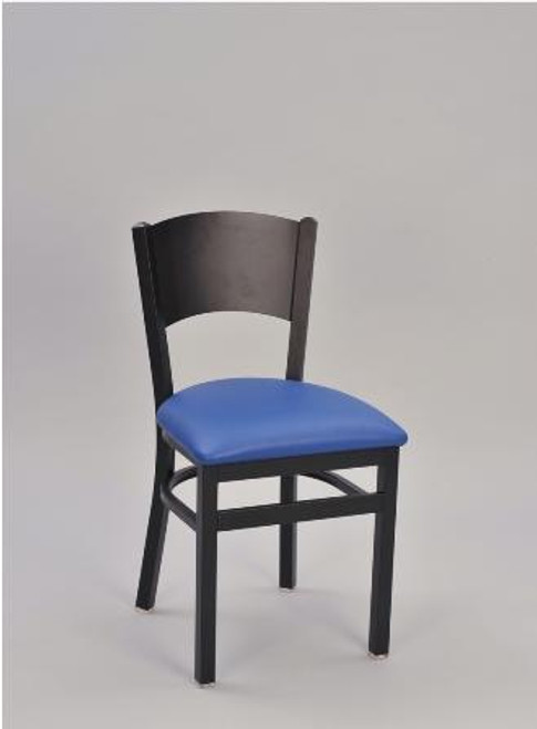 Solid Metal Back Chair with blue upholstered seat and sandtex black frame finish.