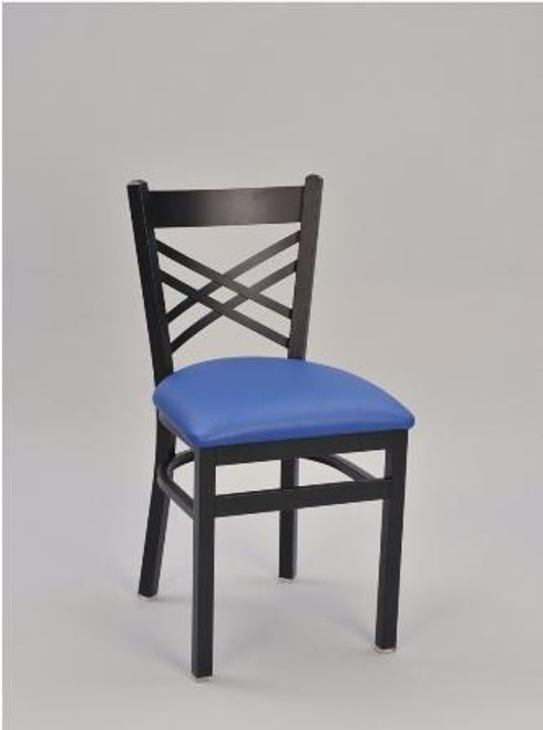 Cross Hatch Metal Chair shown with sandtex black frame finish and seat upholstered in blue vinyl.