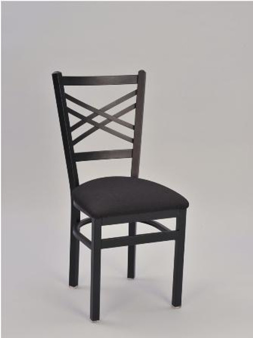 Framed Cross Hatch Metal Chair, shown with black frame finish and upholstered seat in black vinyl.