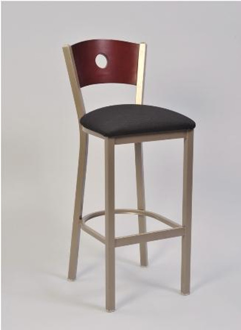 """The Slot Back Bar Stool is built to endure commercial use, but is also appropriate for home use. The solid metal frame comes in 6 different finishes. Additional Details:  - Choose a frame finish and upholstery color and type - High grade vinyls, fabrics or wood seat options - Available with matching chair, 24"""" and 30"""" swivel motion bar stool - Select your own wood back from our large selection"""