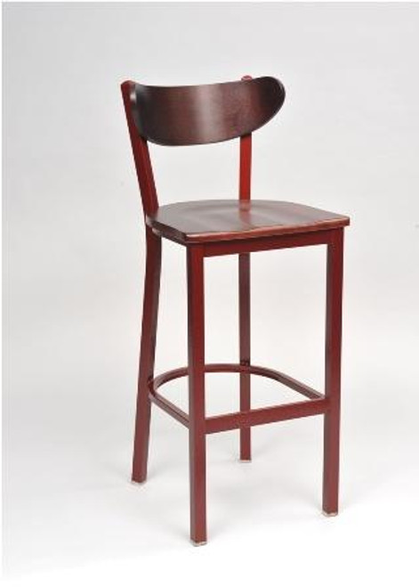 Contoured Combo Bar Stool in wood finish with wood seat and square base.