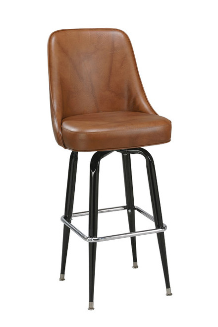 Our High Back Bucket Bar Stool 1 has a high back for maximum comfort, as well as multiple base finishes and upholstery options. With its steel chrome ring base and 360 degree swivel, this bar stool is the perfect seating option for your home, restaurant, or bar. Pictured in brown vinyl.