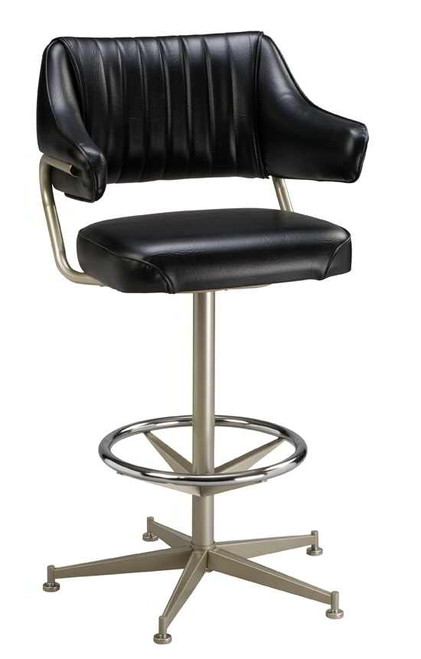 "Our Padded Arm Bucket Bar Stool 1 features a steel chrome ring base, 360-degree swivel adjusts from 24"" to 30"" high in 2"" intervals. Available in three frame finishes and our durable fabrics and vinyls. Pictured in black vinyl."
