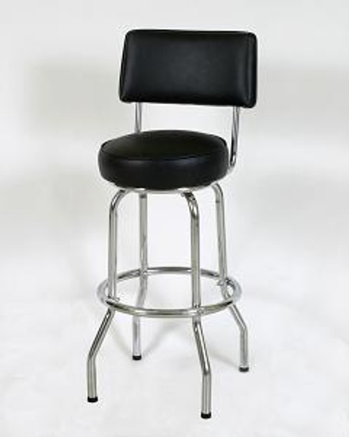 """This sturdy 30"""" Single Ring Retro Style Diner Stool with Back 1 features a chrome finish, 360 degree swivel seat, and 14"""" or 16"""" seat size. Pictured in black vinyl."""