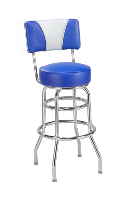 Our popular Two -Tone Retro Double Ring Bar Stool with Back 1 features a chrome finish, tone color options, round seat with 360 degree swivel.