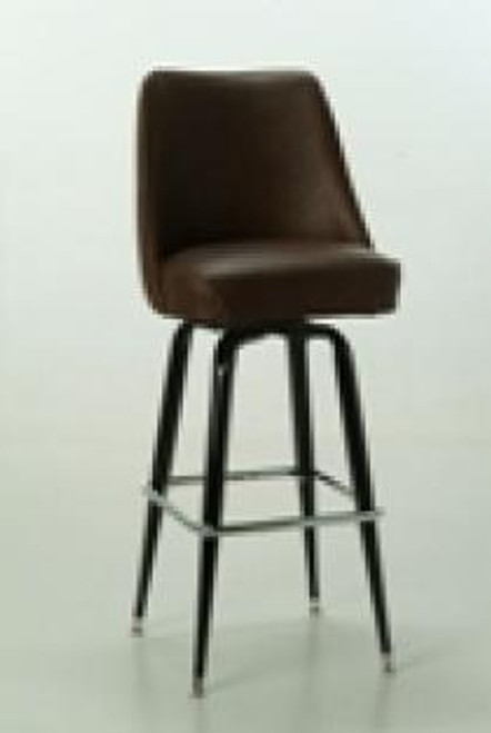 """Our Square Bar Stool with Mid Height Bucket 1 has a 360 degree swivel, a black finish, and a chrome foot rest. - Bucket upholstery available in a variety of fabrics and vinyls. - Bucket Dimensions: 16.5""""H x 19""""W x 17""""D - Seat Dimensions: 18""""W x 16.5""""D - Made in the USA"""