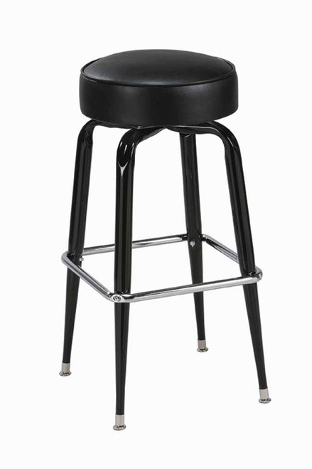 """Square Bar Stool Base with 14-16"""" Round Seat features: - Seats are available in all of our olefin fabrics and vinyls. - Seat available in 14"""", 15"""" and 16"""". - Base has a 360 degree swivel. - Black finish with chrome foot rest. - Made in the USA."""