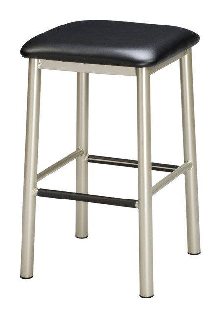 """Our Backless Metal Bar Stool 1 is a stool you can depend on, with a sturdy metal base and a 15"""" square seat. Seat fabric and vinyl options are available, as well as base color options. Made in USA."""