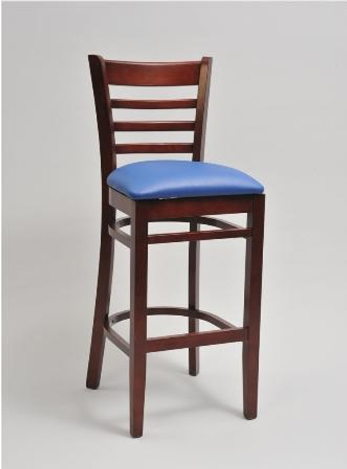 Our Ladder Wood Bar Stool is made from solid beechwood and is the perfect addition to your home or commercial venue. Features include: - Finish options include mahogany, cherry, and walnut. - Choice of wood or upholstered seat - The upholstered seat is available in a wide range of vinyls and fabrics.  - COM available upon request - Quantity discounts available