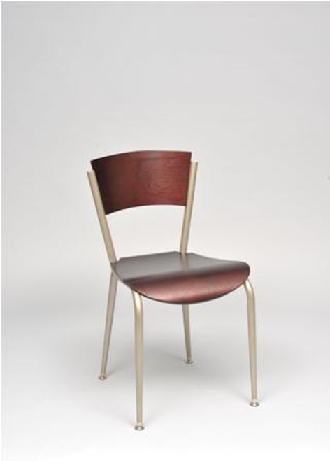 Our Brody Chair shown in chair height, with silver frame and cherry wood seat and back.