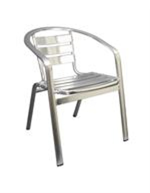 Maria Outdoor Aluminum Stack Chair features a classic ladder-back style, rust proof aluminum finish.