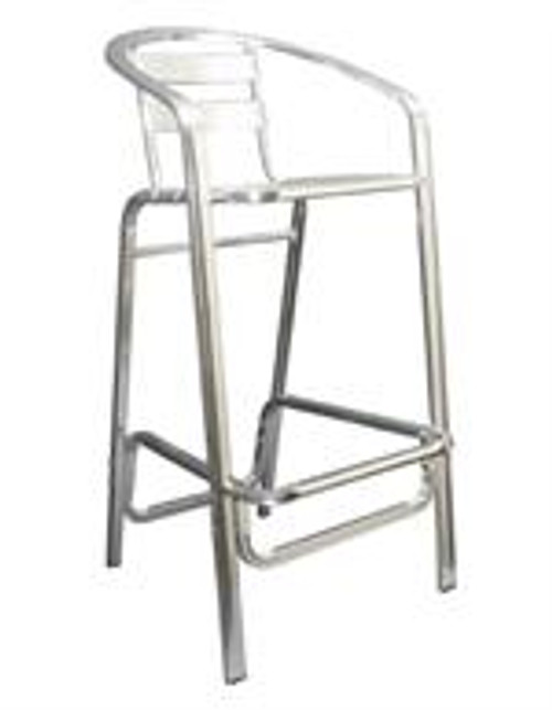 The  Maria Outdoor Aluminum Bar Stool has a classic, ladder back style with a comfortable armrest; a rust-proof, lightweight aluminum finish; a durable welded frame (fully assembled for minimal hassle); and a sturdy build for outdoor and indoor use.