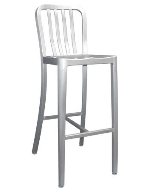 The Rosa Outdoor Aluminum Bar Stool sports a contemporary slat back style, and features a rust-proof lightweight aluminum finish, making it a perfect addition to your restaurant, bar or home outdoor patio.