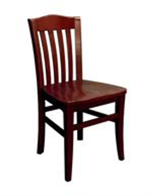 Vertical Slat Schoolhouse Chair in dark mahogany finish