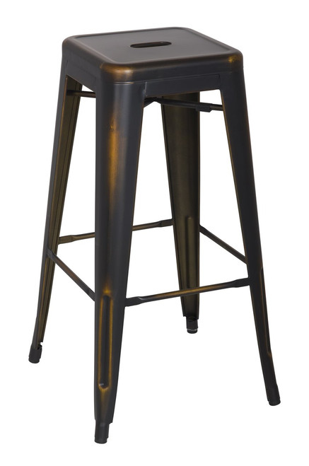 Galvanized Backless Metal Bar Stool in Antique Gold