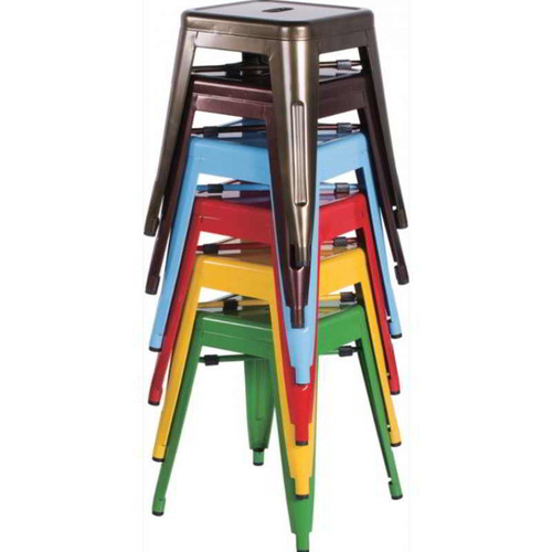Galvanized Backless Side Chair features stackable build for convenience, steel frame for durability, and oval cut-out on the seat for comfort. Available in Black, Blue, Copper, Green. Gunmetal. Red, Yellow, and White.