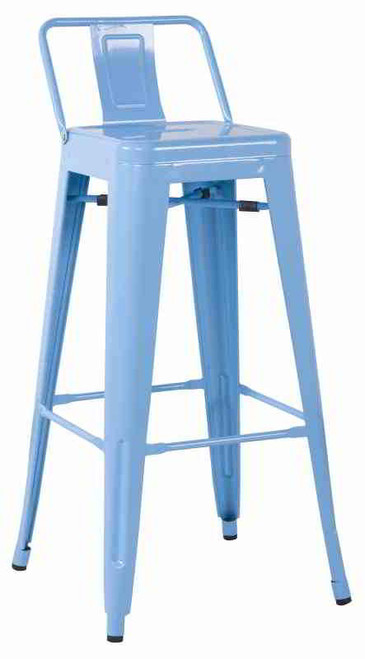 Our Galvanized Metal Low Back Bar Stool (Set of 4) has an edgy look to add a bit of flair to your restaurant, bar, outdoor patio or home seating or dining area. It sports a low back and extra wide seat for comfort, and a stackable build for your convenience.