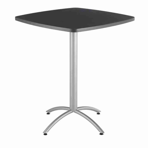 "Iceberg CafeWorks 42"" High Bistro Table pictured in square shape in graphite granite finish."