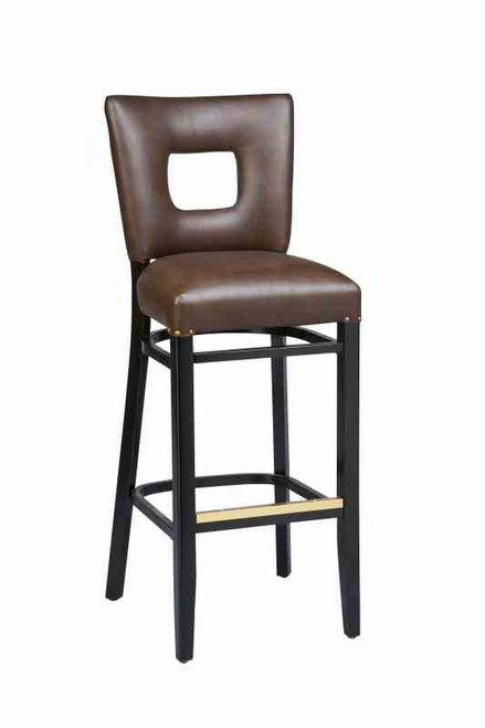 """Our Jade Open Back Bar Stool is made from solid beechwood and is built to withstand commercial use. Create the perfect look for your home, restaurant or bar by choosing from a variety of wood finishes, a large fabric and vinyl selection, and multiple frame sizes. More about it:   - 31"""" Height Stool  45"""" H X 18"""" W X 20"""" D - 24"""" Height Stool  38"""" H X 18"""" W X 20"""" D - 26"""" Height Stool  40"""" H X 18"""" W X 20"""" D"""