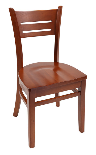 Our Danielson Wood Chair in cherry with cherry wood seat is perfect for commercial or home use. Available in multiple wood finishes, stool or chair height, with optional black cushion seat.