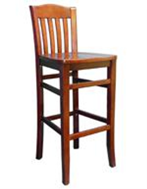 """Our Vertical Slat Schoolhouse Bar Stool (shown in walnut finish) will enhance any decor. Built to withstand commercial use, this chair is perfect for restaurant, club, school or home use. Features include: - Solid beechwood frame - Available in dark mahogany or walnut finish - Seat height 30"""""""