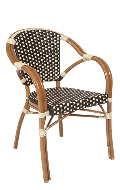 "This chair sports a sturdy aluminum frame with poly-woven wicker, and can be used inside or outside. Additional information: glides are included and seat height is 18""."