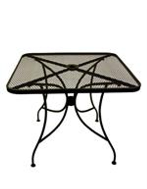 "An outdoor classic, this square table features a 2"" umbrella hole and durable mesh surface, allowing for versatile and flexible use. The black finish provides a clean, sophisticated aesthetic that completes your summer seating area. Also available in round."