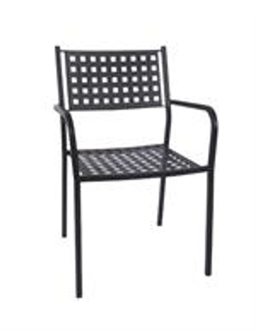 This outdoor iron armchair is stackable and durable. This chair is a classic, convenient piece to add to your home, restaurant or bar this summer.