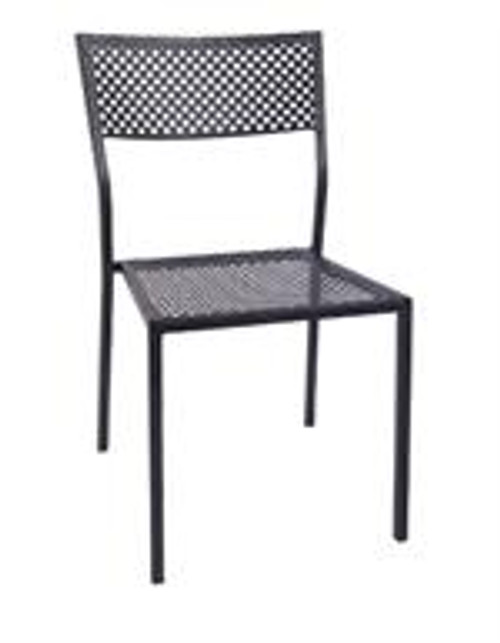 This outdoor chair in black is perfect for commercial or home use. Features Include: Iron Frame, Square Punch Hole Design, and Stackable Build.